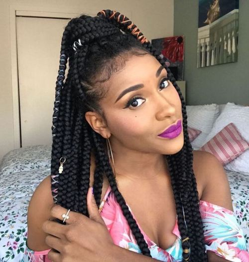 Box Braids Half Up Ponytail