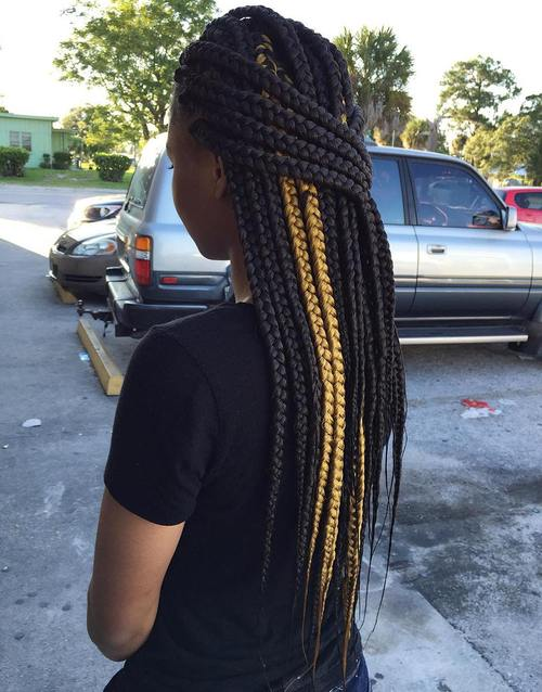 half up big box braids with highlights