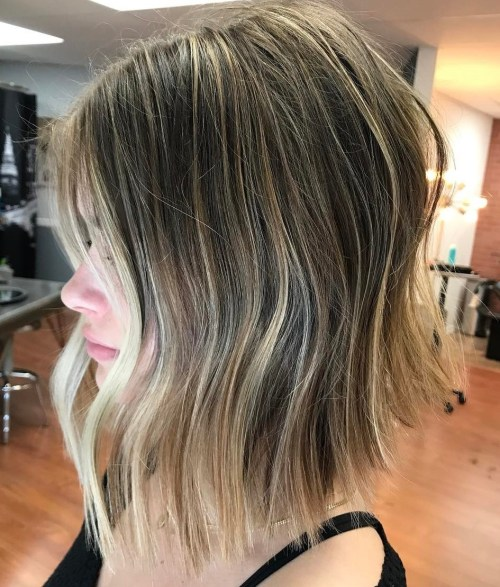 Choppy Lob With Subtle Balayage
