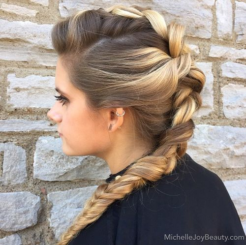 french braid mohawk hairstyle for long hair