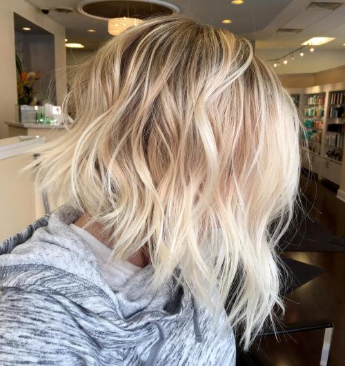Messy Angled Blonde Bob