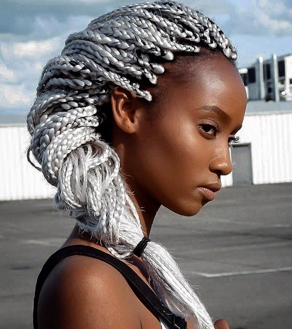 Silver Blonde Box Braids