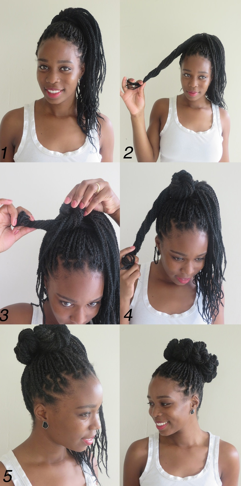 how to style your hair with braids 10 directing you on how to style box braids 6803 | 9 high box braids bun from mini buns