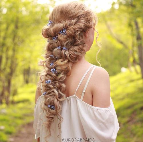 20 lovely long curly hairstyles curly downdo with flowers for long hair mightylinksfo