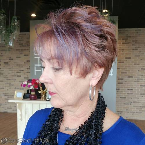 Over Pixie With Lavender Highlights