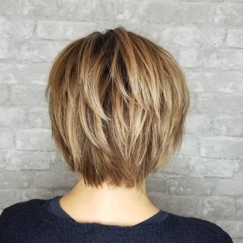 Shorter Layered Brown Blonde Hairstyle