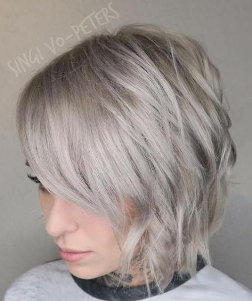 Ash Blonde Shaggy Bob With Side Bangs
