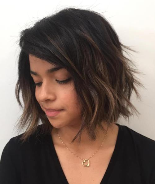 Black Shaggy Bob With Brown Balayage