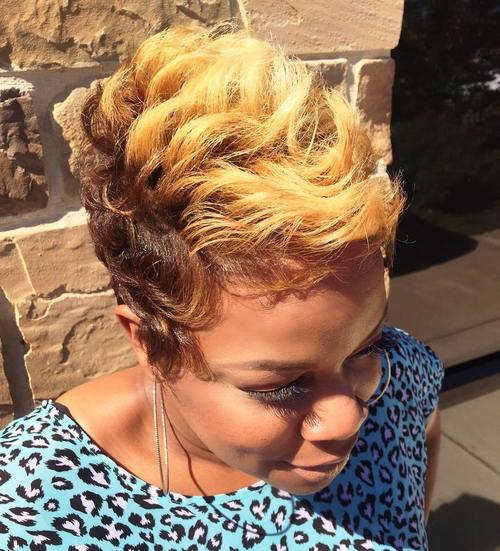 blonde and brown curly fauxhawk for black women
