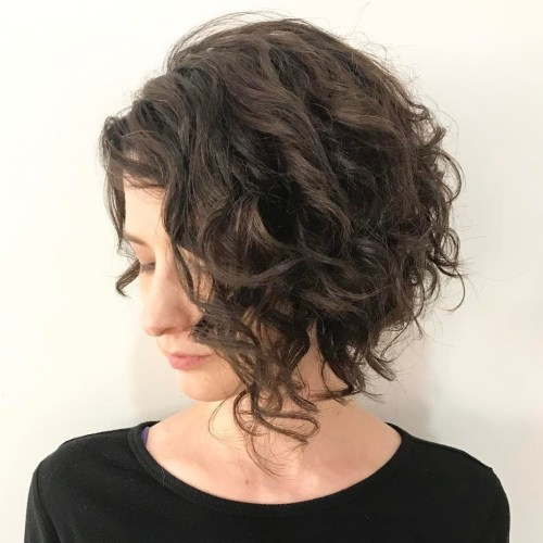 Brunette Curly Angled Bob