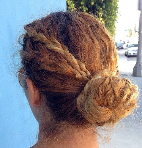 Bun With Braids For Curly Hair