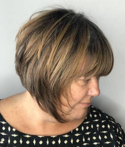 Inverted Razored Bob For Older Women