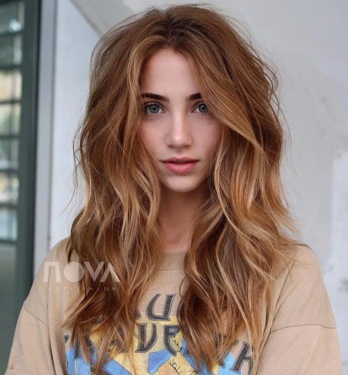 Long Shaggy Hairstyle For Thick Hair