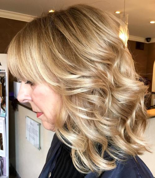 Medium Wavy Shag With Bangs Over 50