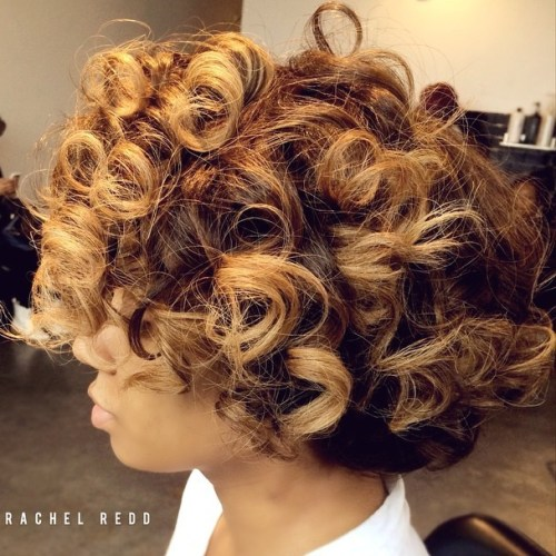 Short Curly Black Hairstyle With Highlights