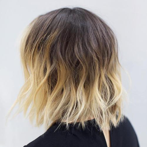 Wavy Shaggy Brown Blonde Balayage Bob