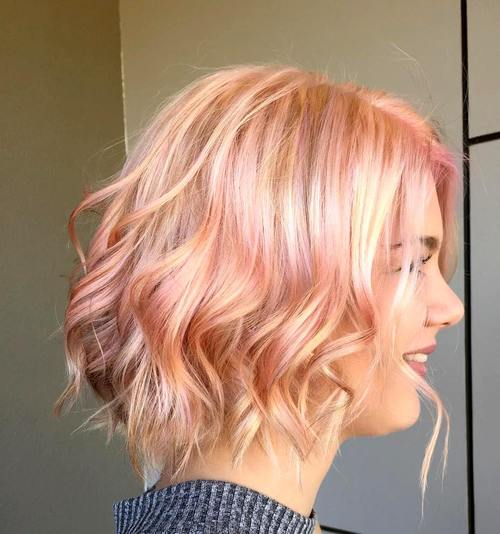 40 short shag hairstyles that you simply cant miss blonde wavy bob with pastel pink highlights pmusecretfo Gallery