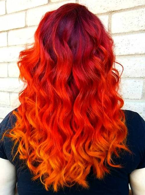 bright red ombre hair