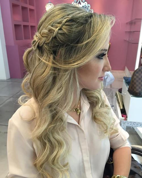 Half Updo With A Side Braid