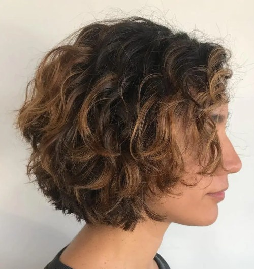 Jaw-Length Curly Tousled Bob