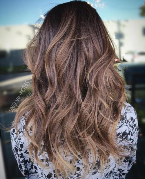 Brown Layered Wavy Ombre Hair