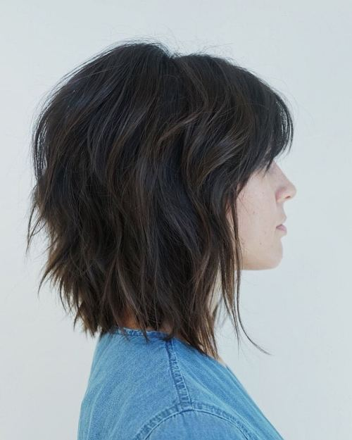 Brunette Short Shag Haircut With Bangs