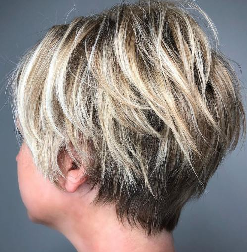 Razored Pixie With Blonde Balayage