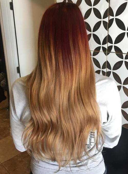 red to caramel ombre