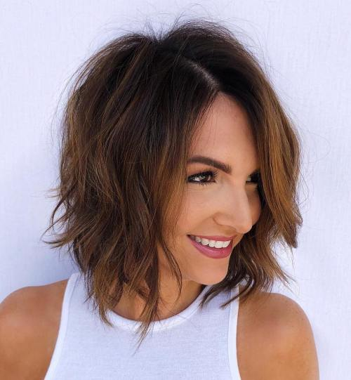 Shaggy Brunette Bob With Copper Balayage