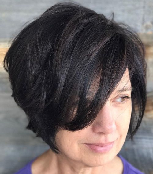 Tousled Side Parted Bob Over 50