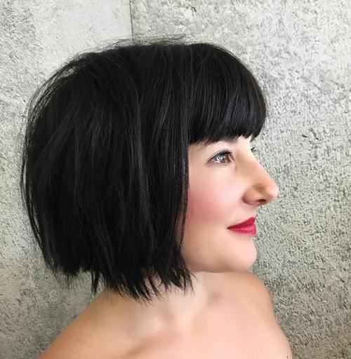 black shaggy bob with straight across bangs
