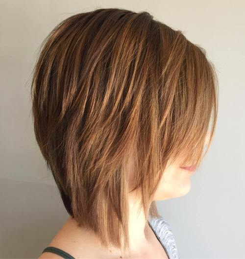 Chestnut Brown Layered Bob