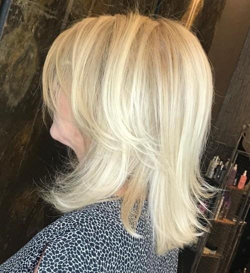 Medium Blonde Shag Haircuts For Older Women