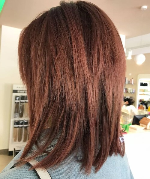 Medium Straight Hairstyle With Shaggy Layers