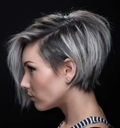 Textured Pixie Bob With Long Side Bangs