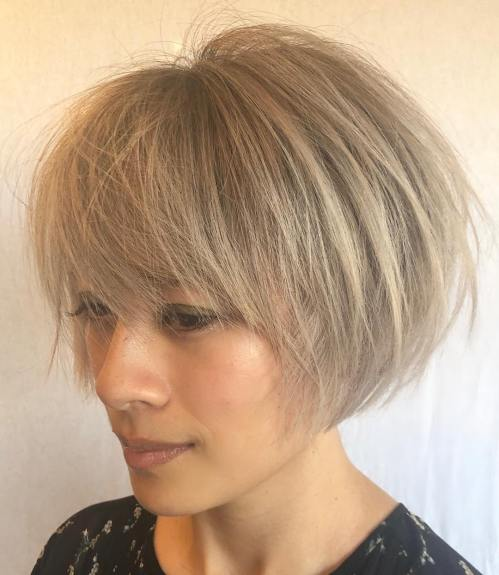 Straight Ash Blonde Bob For Thin Hair