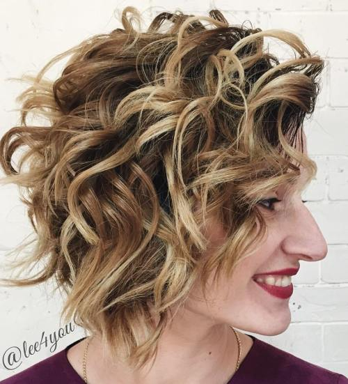 Curly Messy Bob