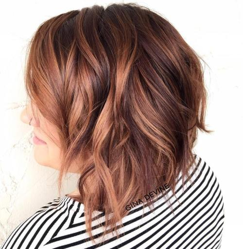 Wavy Caramel Brown Bob