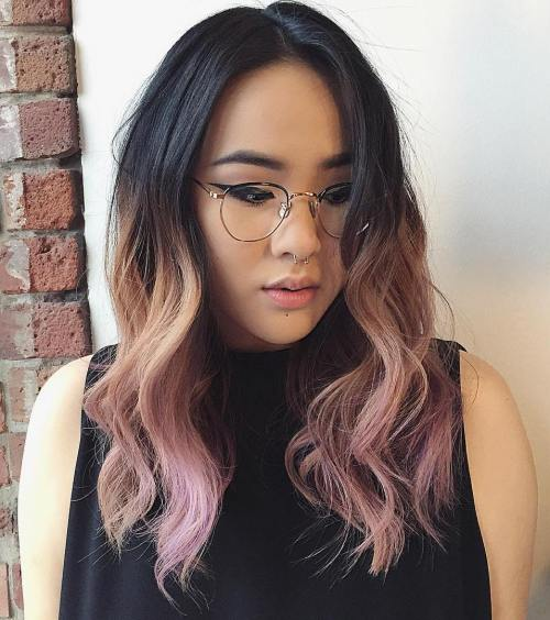 Black To Washed Pink Ombre