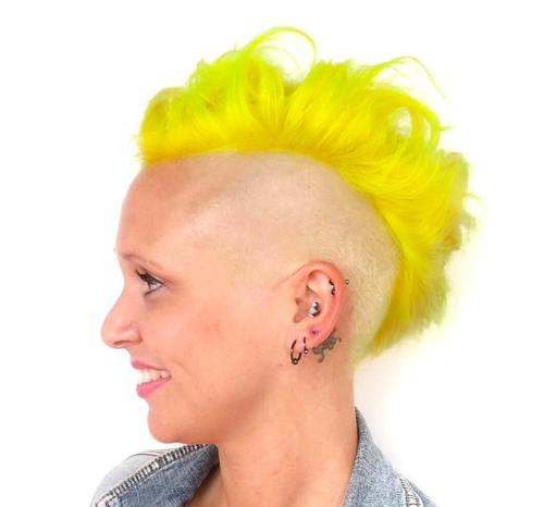 funky yellow mohawk for women