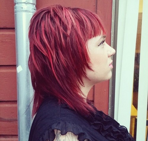 layered medium cherry-red hairstyle