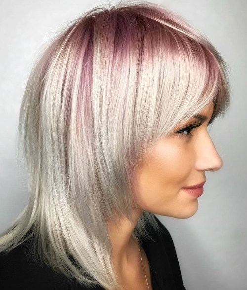 50 most universal modern shag haircut solutions white blonde hairstyle with pastel pink roots solutioingenieria Image collections