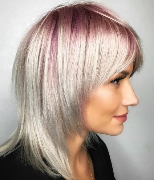White Blonde Hairstyle With Pastel Pink Roots
