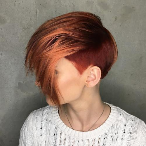 Auburn Pixie With Temple Undercut