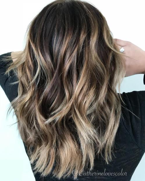 Long Layered Brunette Hair With Balayage
