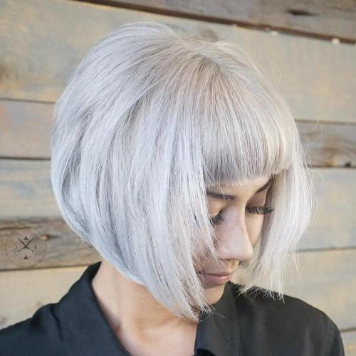 Silver Bob With Straight Bangs