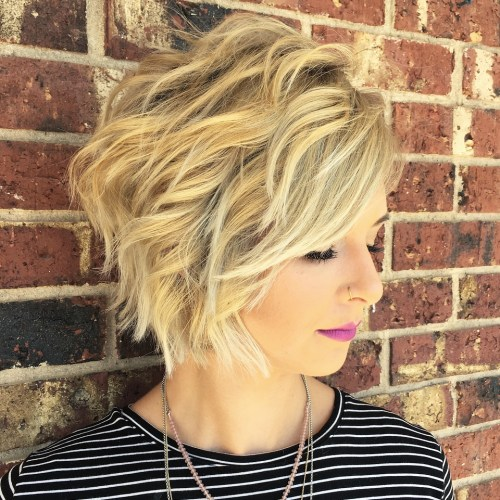 Wavy Golden And Ash Blonde Balayage Bob