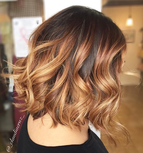 Ombre Hair Brown To Caramel To Blonde Medium Length Brown Ombre Hai...