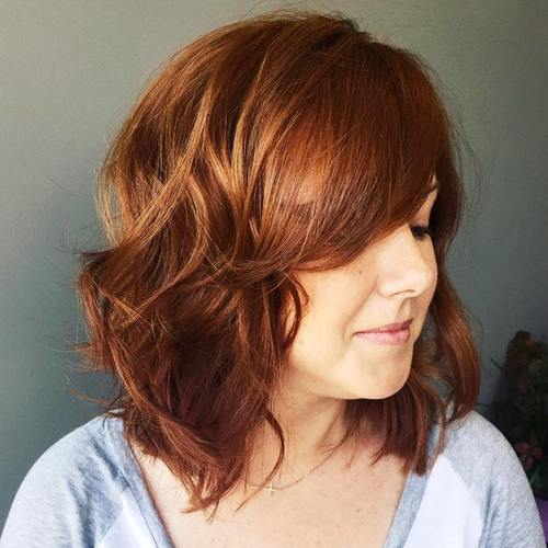 medium chestnut brown wavy hairstyle