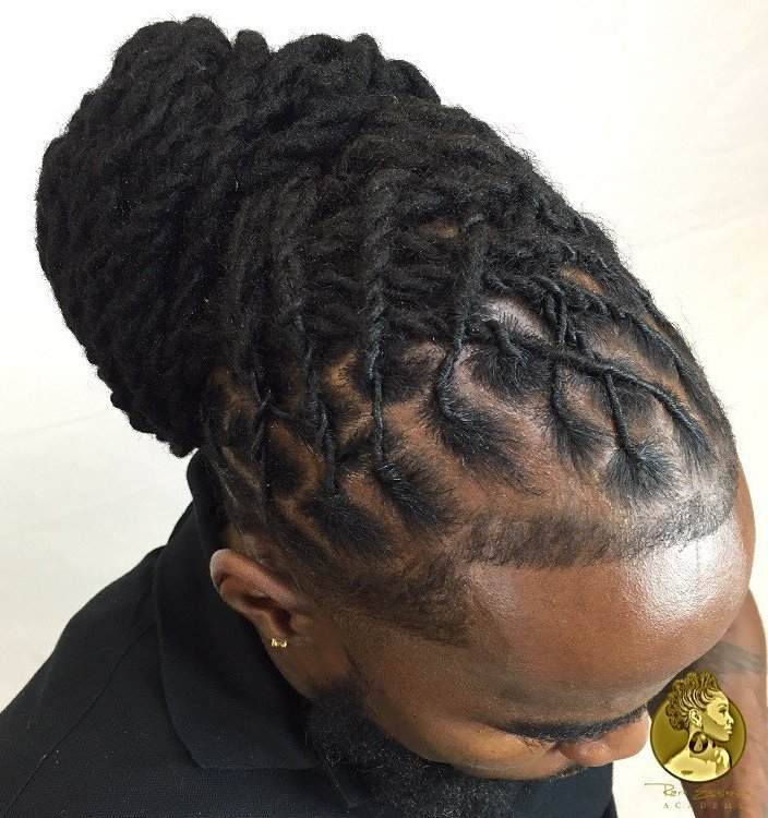 Men Bun From Senegalese Twists